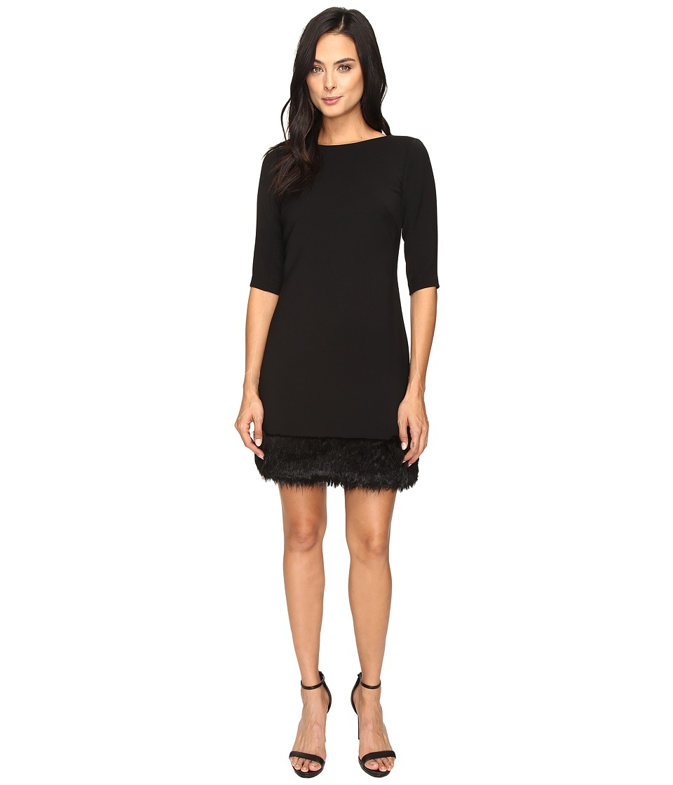 Tahari by ASL - Fur Hem Shift Dress (Black) Women's Dress