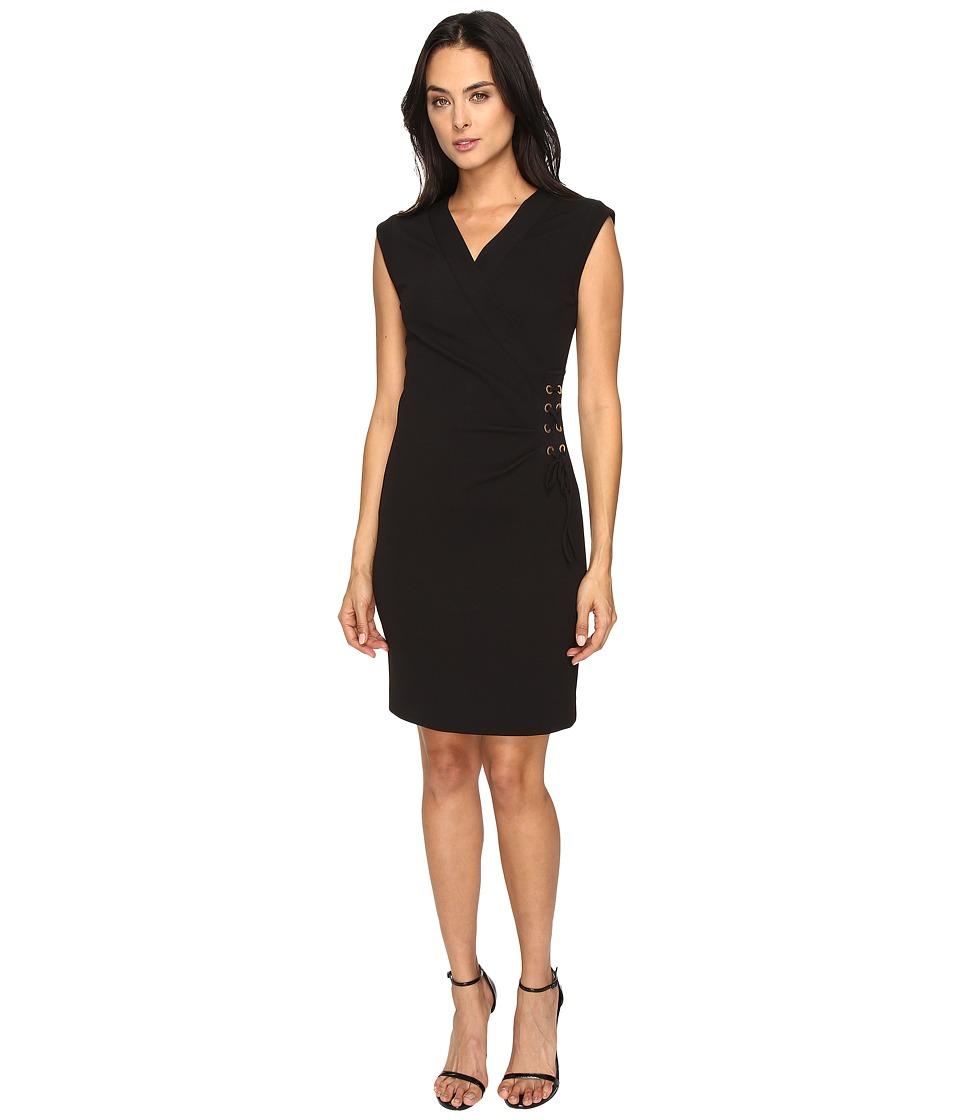 Tahari by ASL - Side Tie V-Neck Sheath Dress (Black) Women's Dress