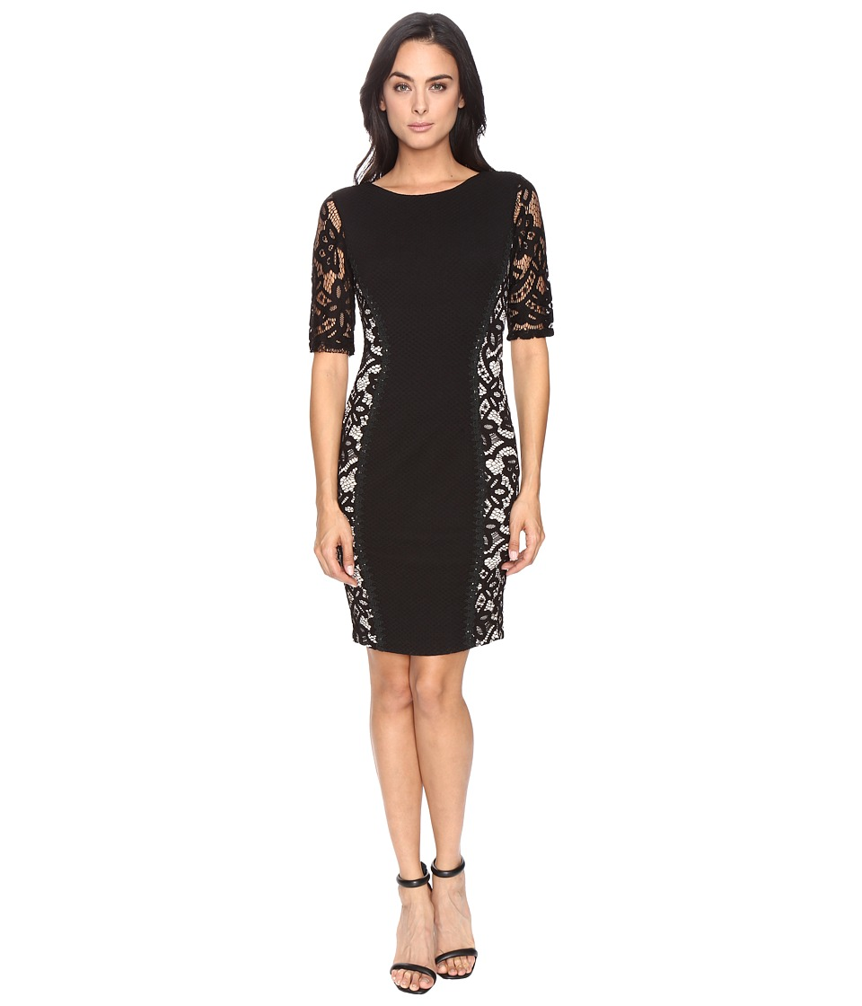 Sangria Lace Side Sheath Dress (Black/Putty) Women