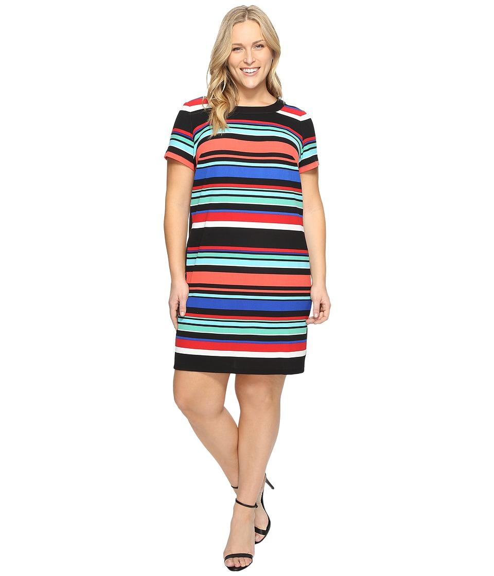 London Times - Plus Size Awning Stripe Side Blocked Shift (Multi) Women's Dress