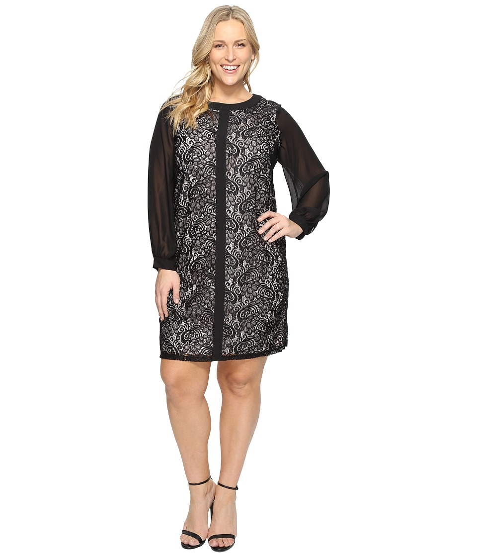 London Times - Plus Size Fan Feather Shift Dress (Black) Women's Dress