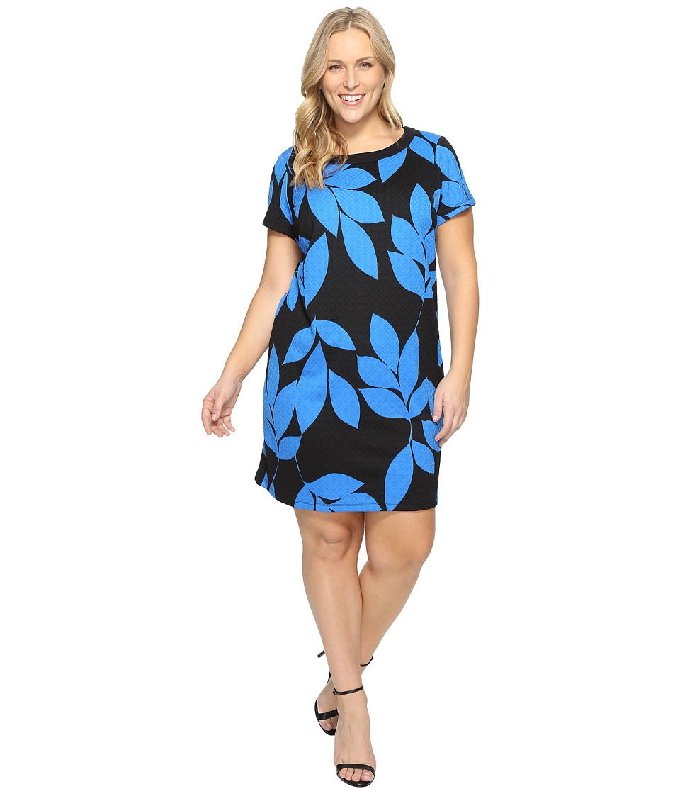 London Times - Plus Size Box Jacquard Short Sleeve Shift (Black/Blue) Women's Dress