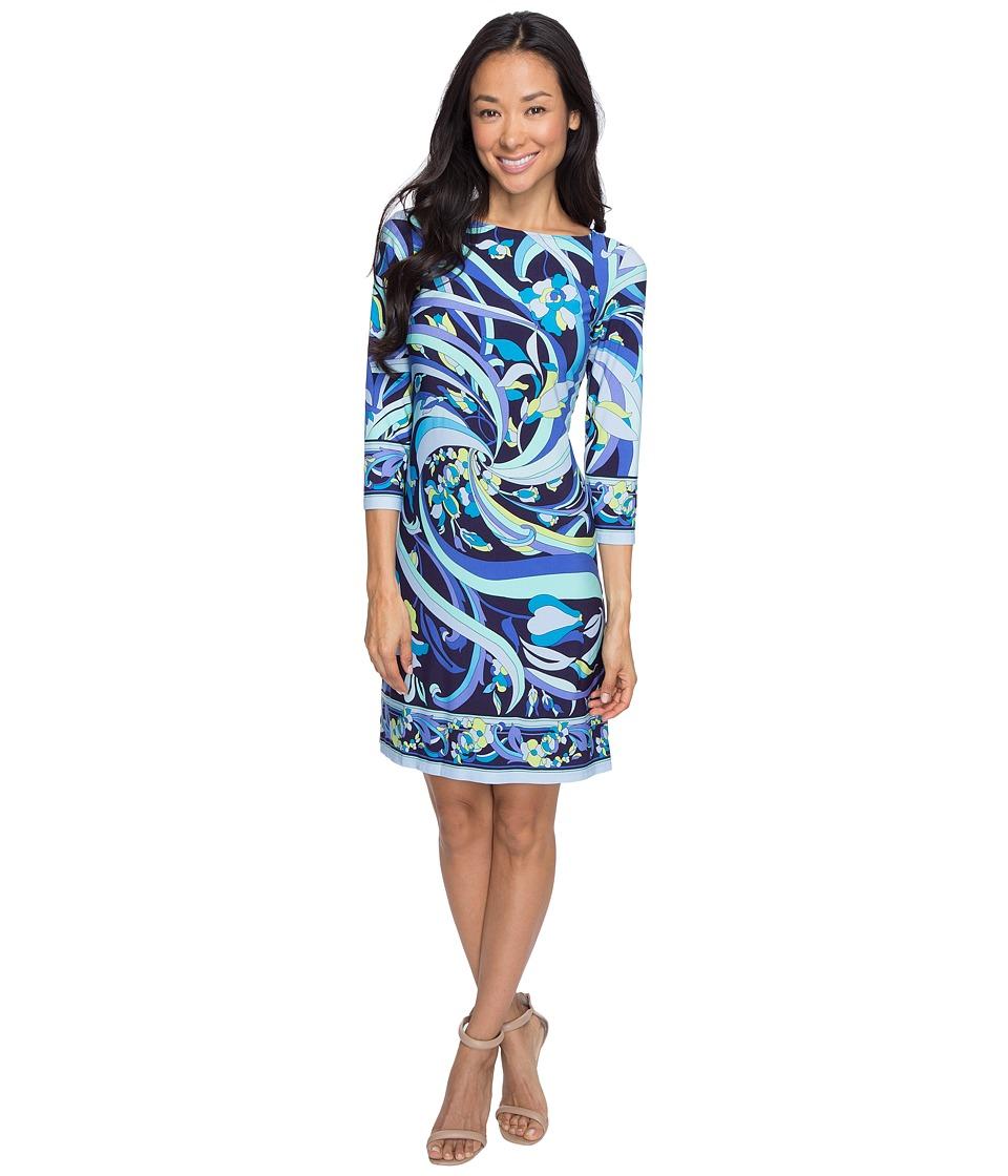 London Times - Petite Pucci Flower Scroll Long Sleeve Shift (Navy Blue) Women's Dress