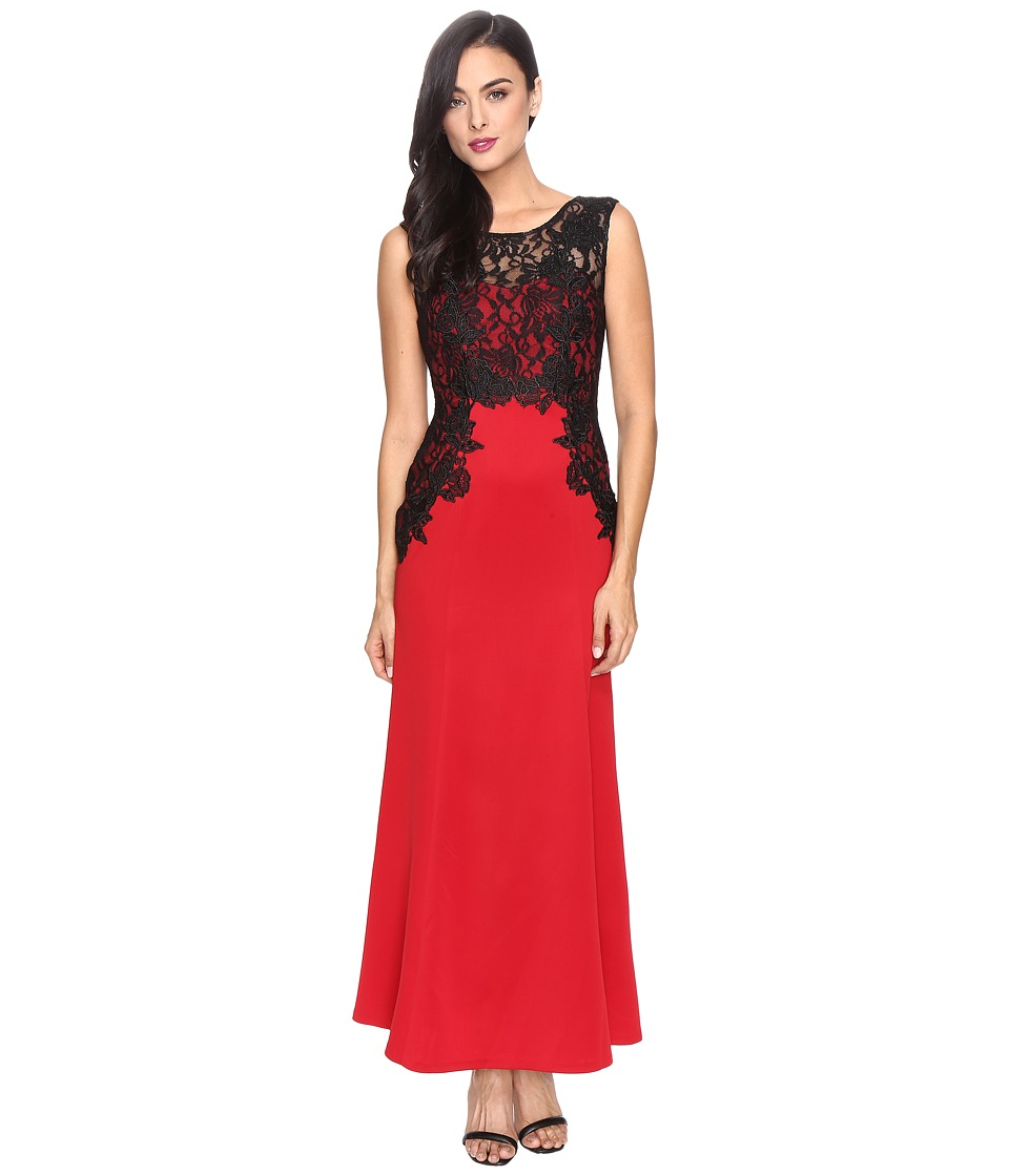 Sangria - Lace Trim Gown (Red/Black) Women's Dress