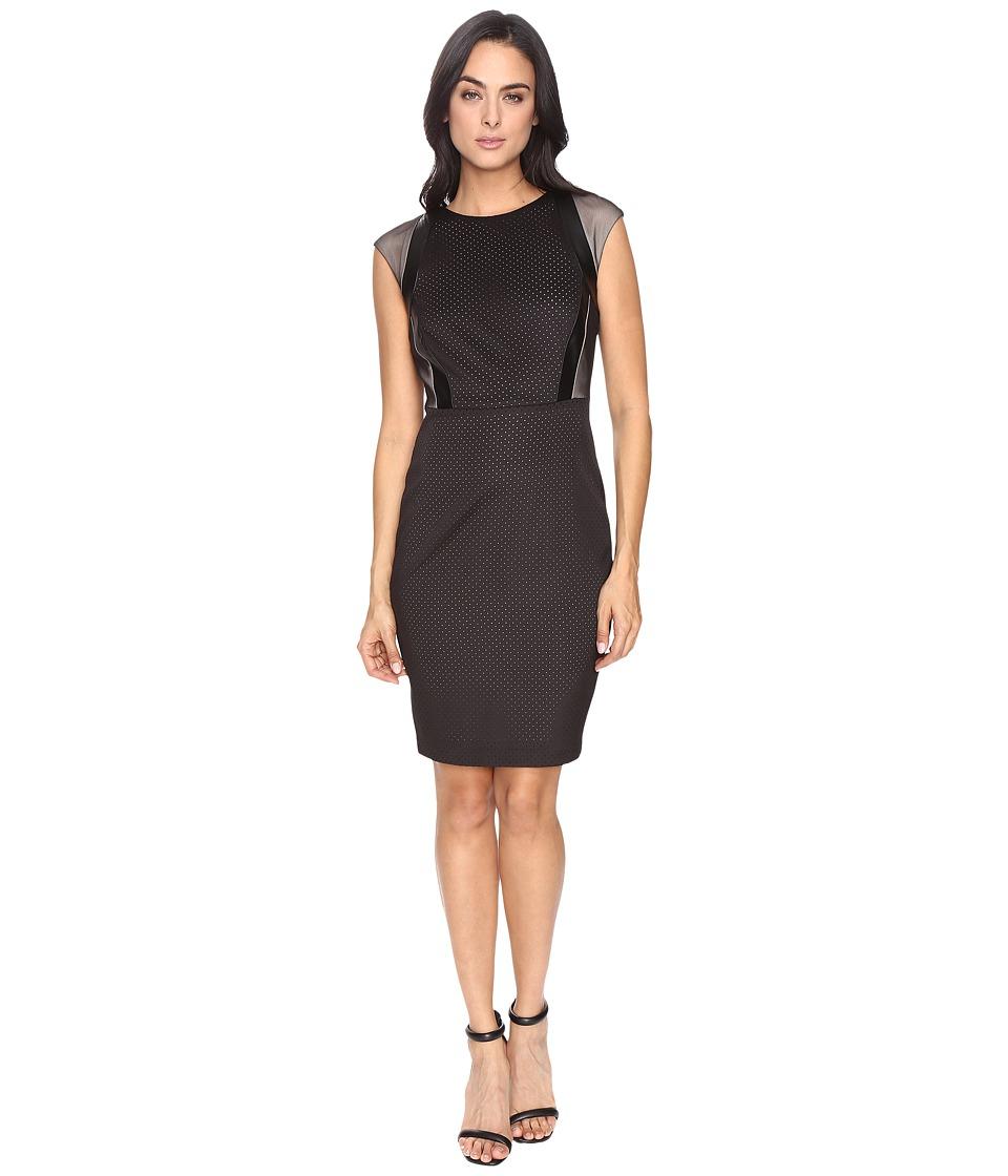 Sangria Perforated Sheath Dress (Black) Women