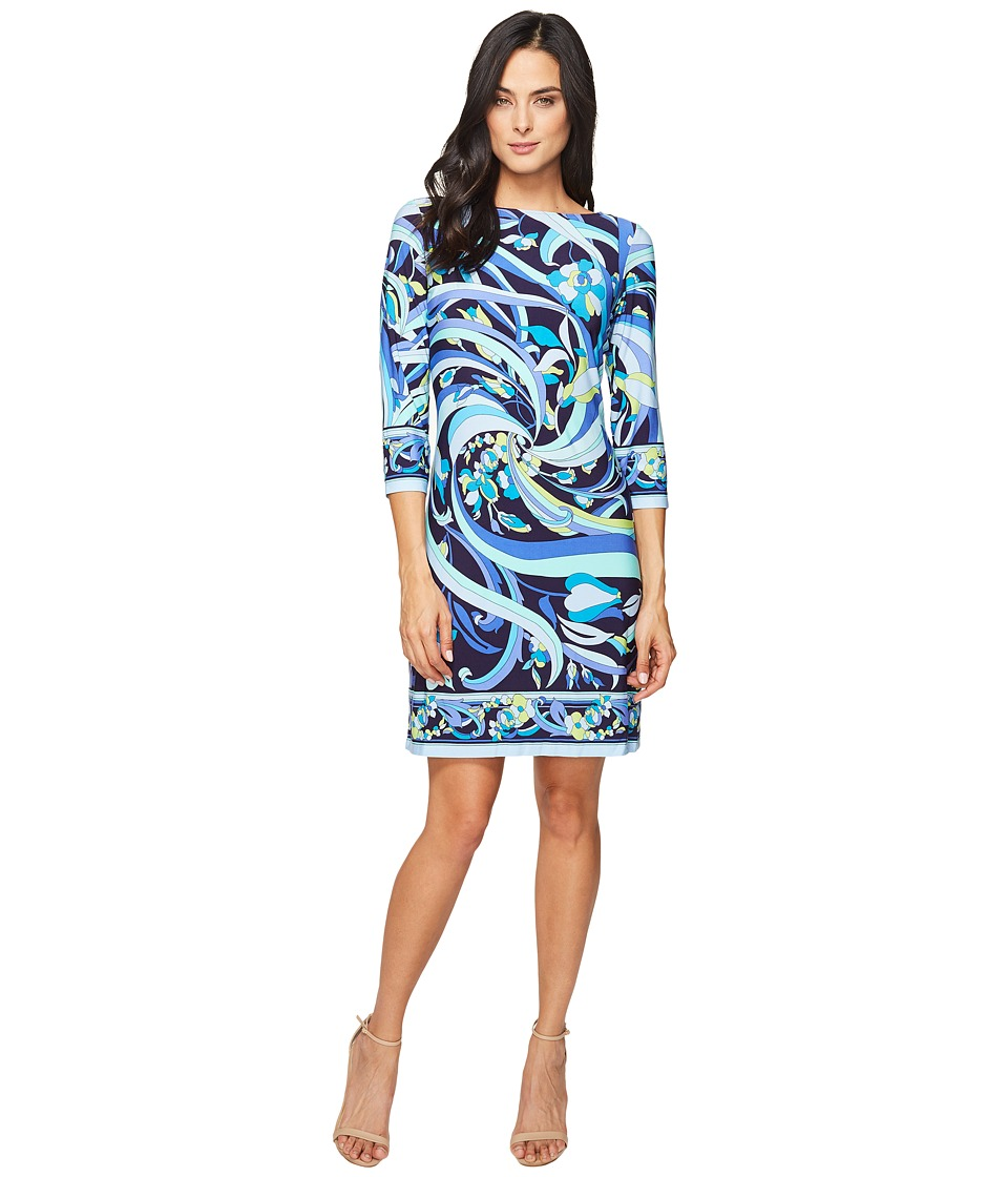 London Times - Pucci Flower Scroll Long Sleeve Shift (Navy Blue) Women's Dress