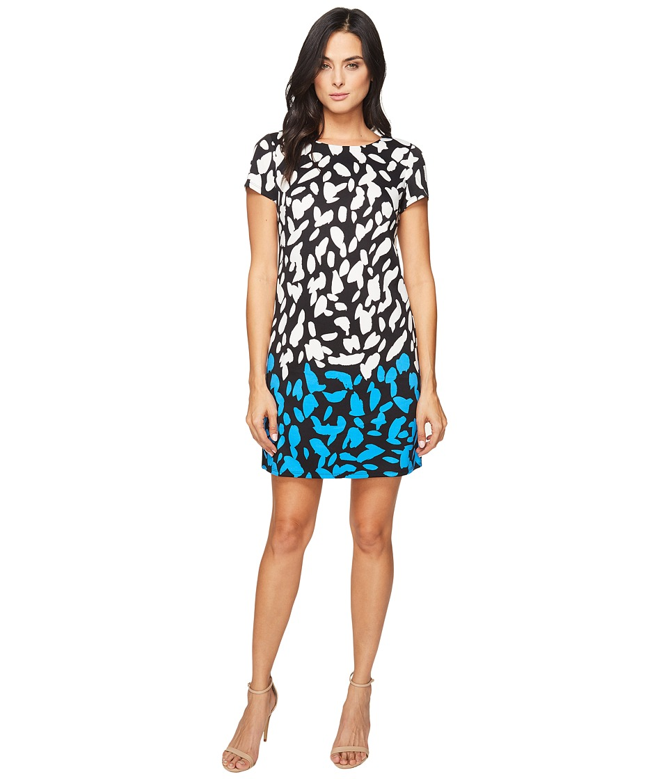 London Times - Abstract Spot Short Sleeveless Shift (Black/Blue) Women's Dress