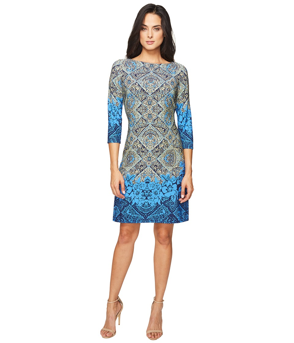 London Times Shield Paisley Long Sleeve Shift (Blue Multi) Women