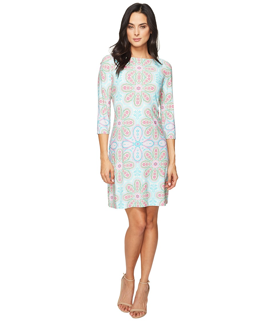 London Times - Long Sleeve Printed Shift (Pink Multi) Women's Dress