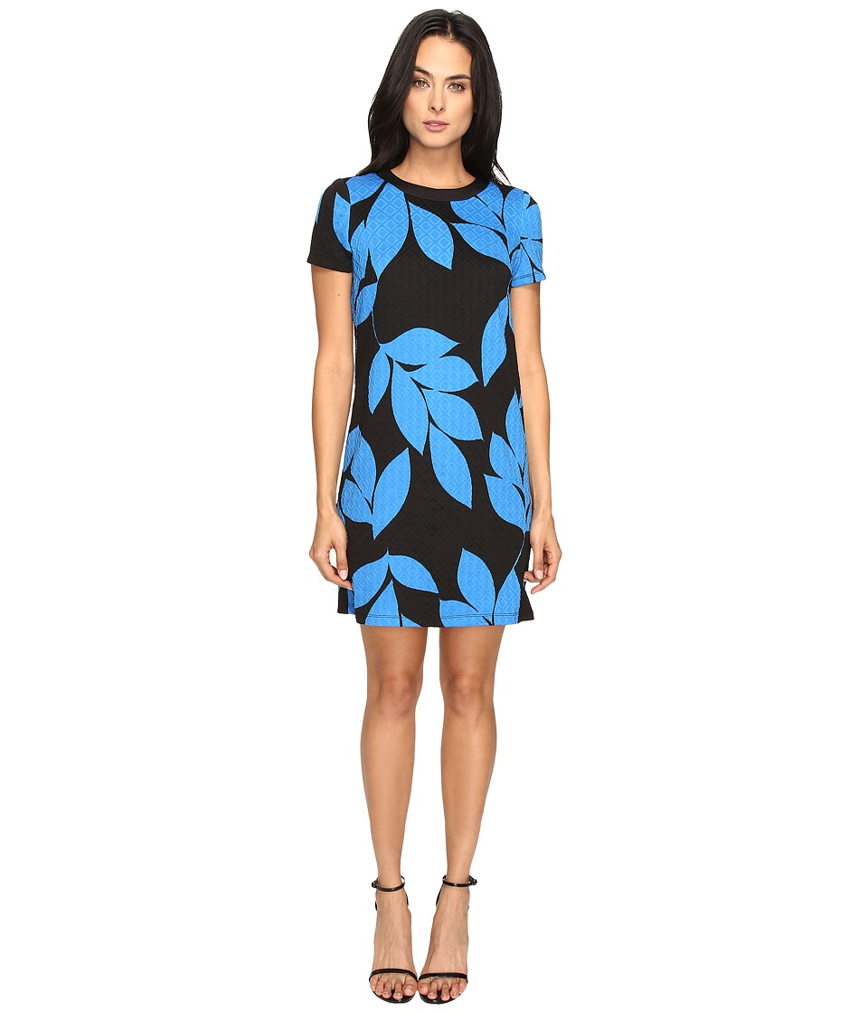 London Times - Box Jacquard Short Sleeve Shift (Black/Blue) Women's Dress