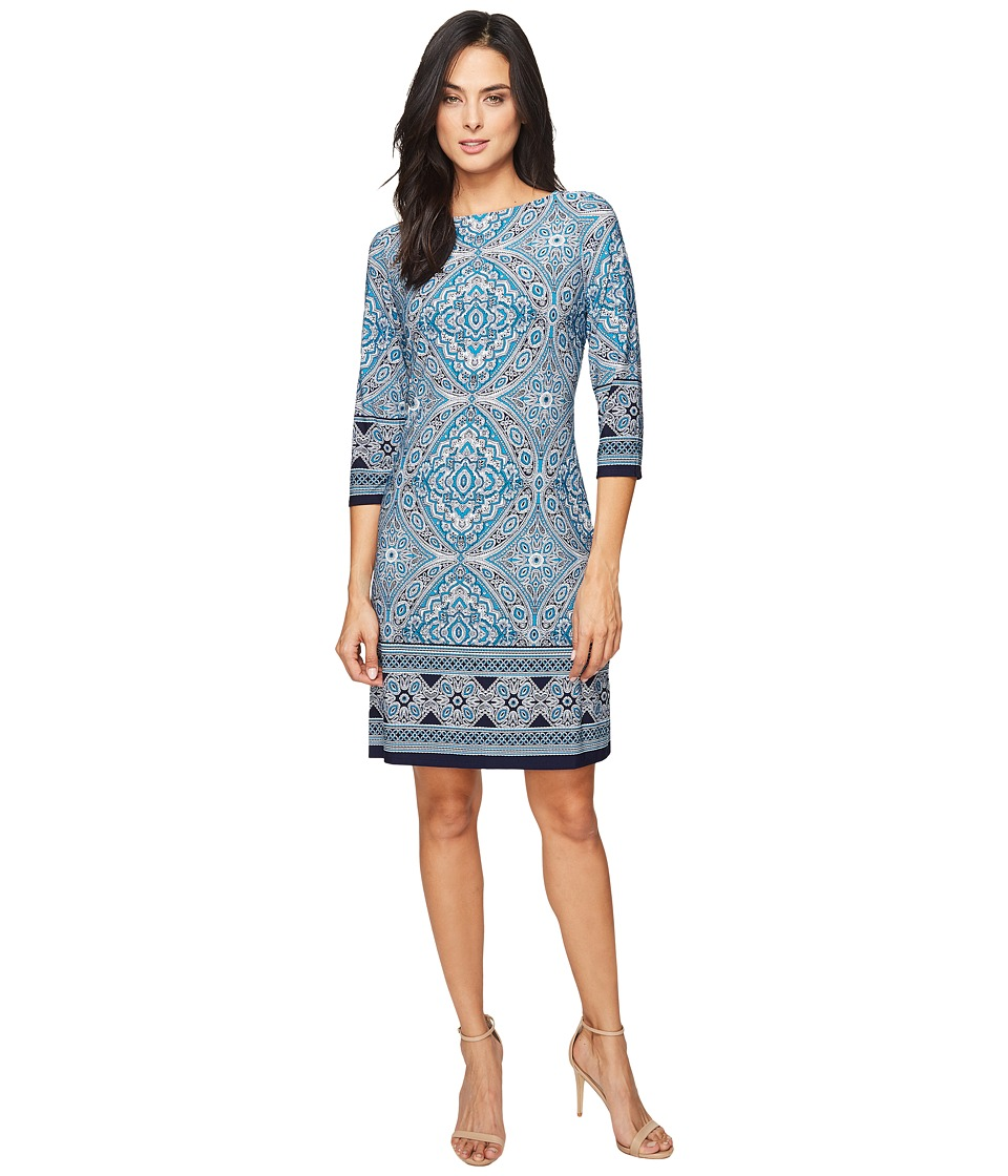 London Times - 3/4 Sleeve Printed Shift (Turquoise/Navy) Women's Dress