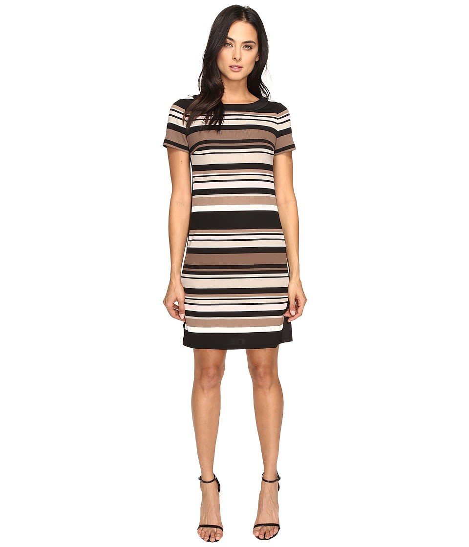 London Times - Awning Stripe Side Blocked Shift (Taupe) Women's Dress