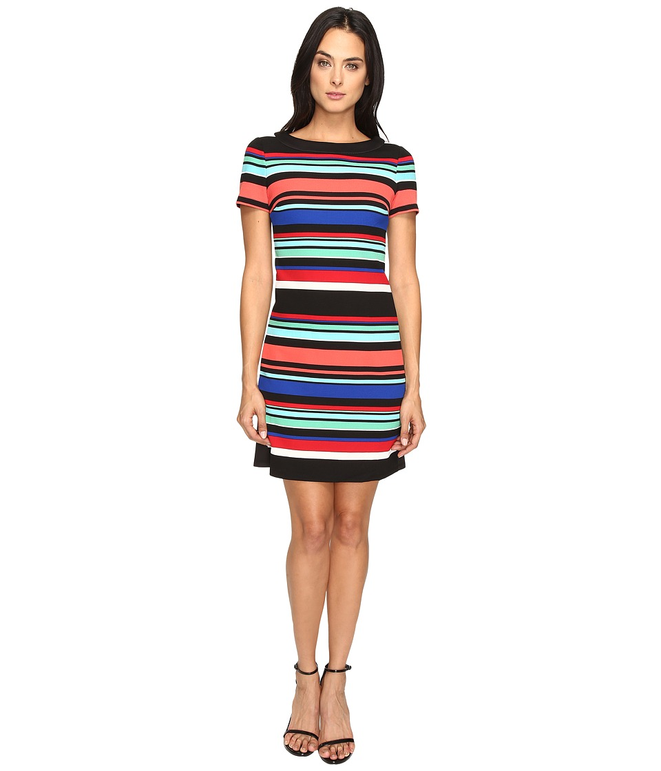 London Times - Awning Stripe Side Blocked Shift (Multi) Women's Dress