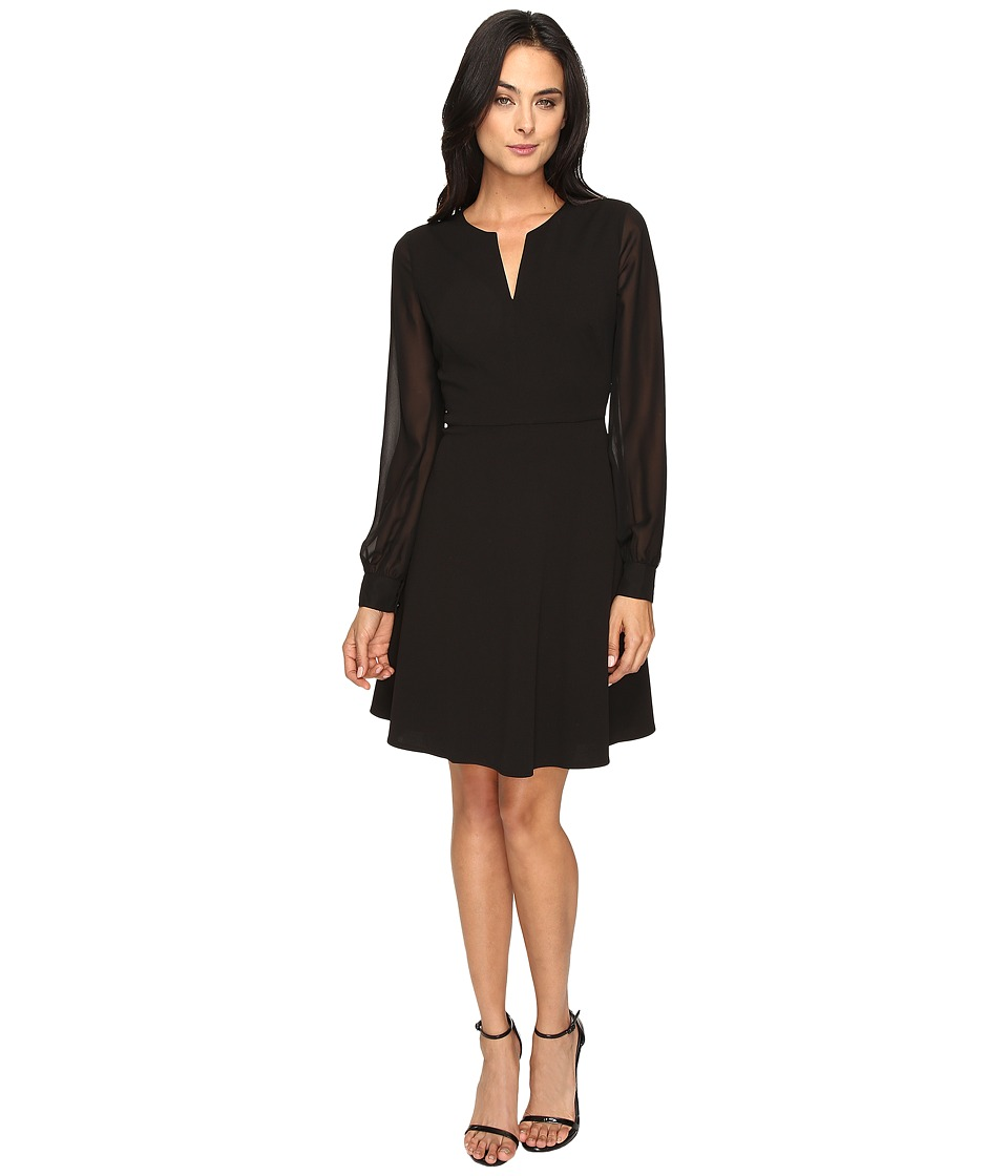 London Times - Long Sleeve Split-Neck Full Skirt (Black) Women's Dress