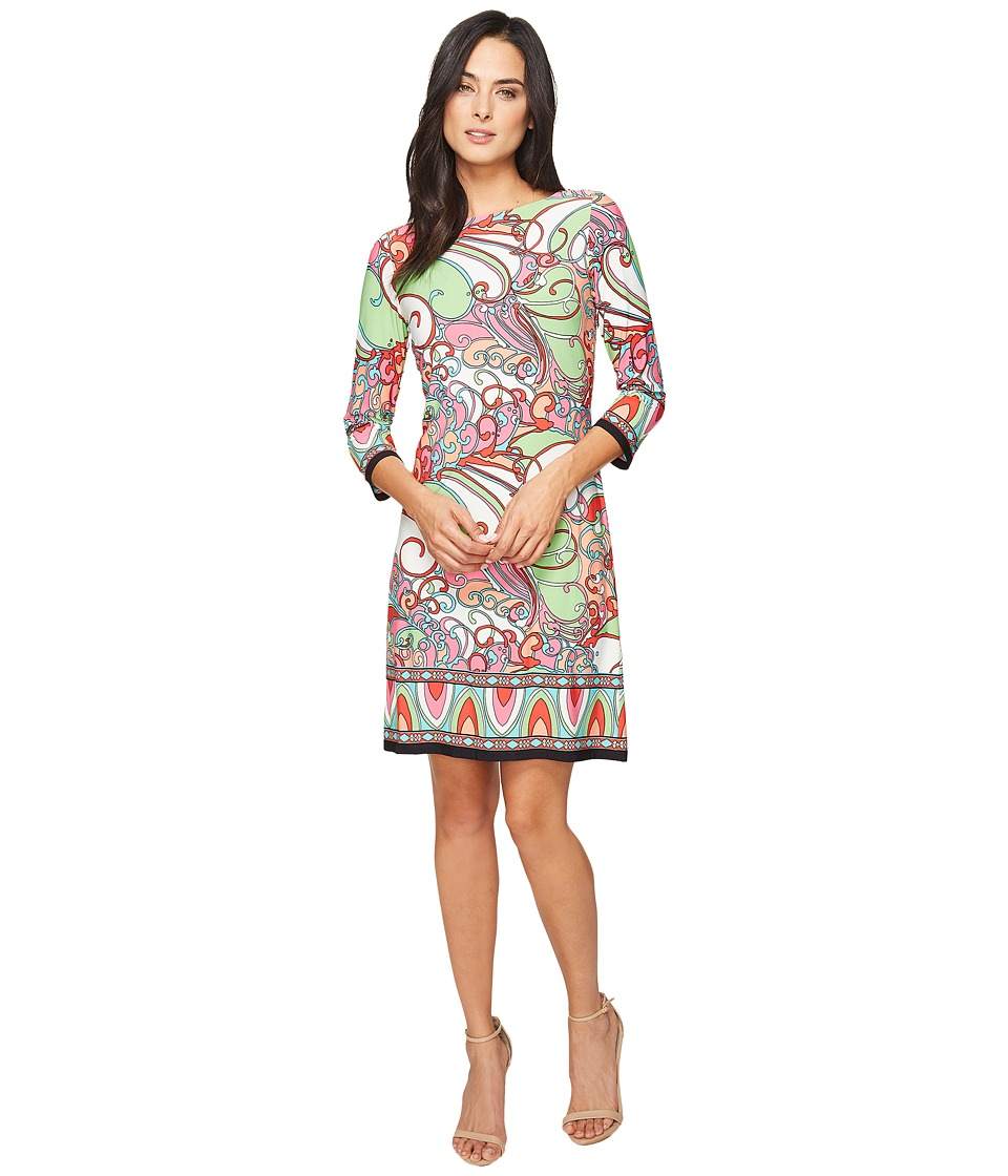London Times - Vintage Scroll Long Sleeve Shift (Lime/Coral) Women's Dress