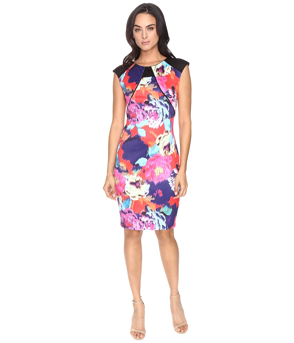 Sangria - Scuba Midi Dress (Multi) Women's Dress