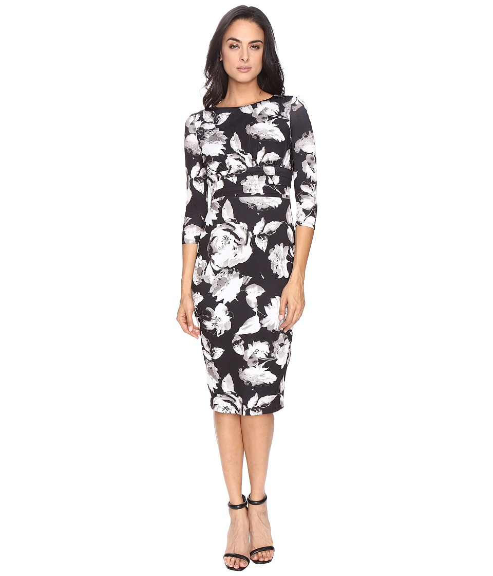 Sangria - Midi Sheath Dress (Black/Ivory) Women's Dress
