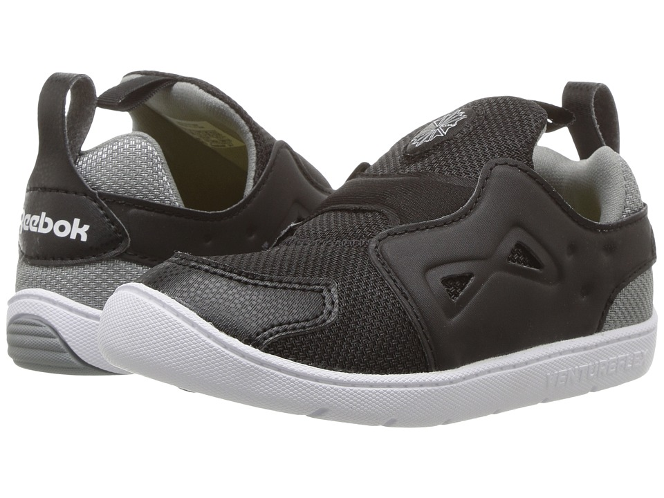 Reebok Kids Ventureflex Slip-On (Toddler) (Black/Flint Grey/White) Boys Shoes