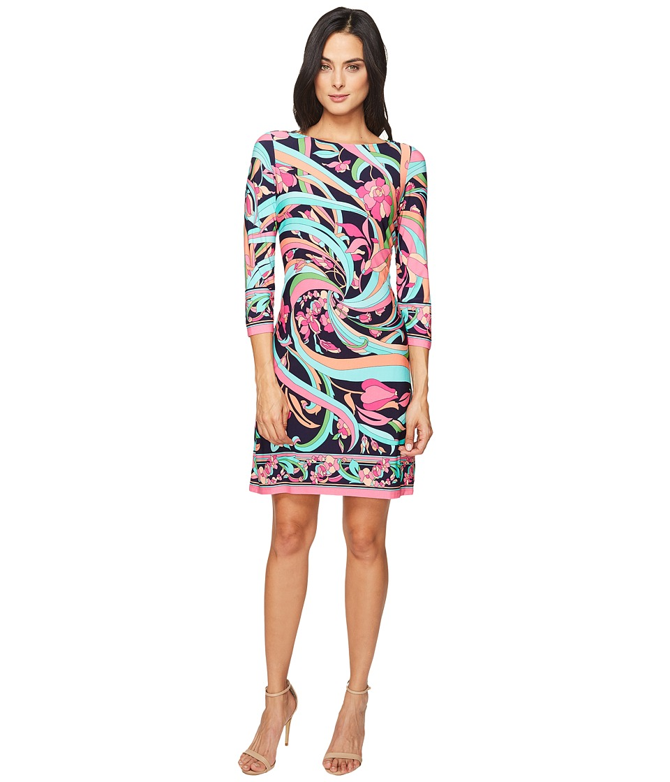 London Times - Pucci Flower Scroll Long Sleeve Shift (Navy/Pink) Women's Dress