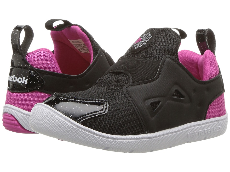 Reebok Kids Ventureflex Slip-On (Toddler) (Black/Charged Pink/White) Girls Shoes