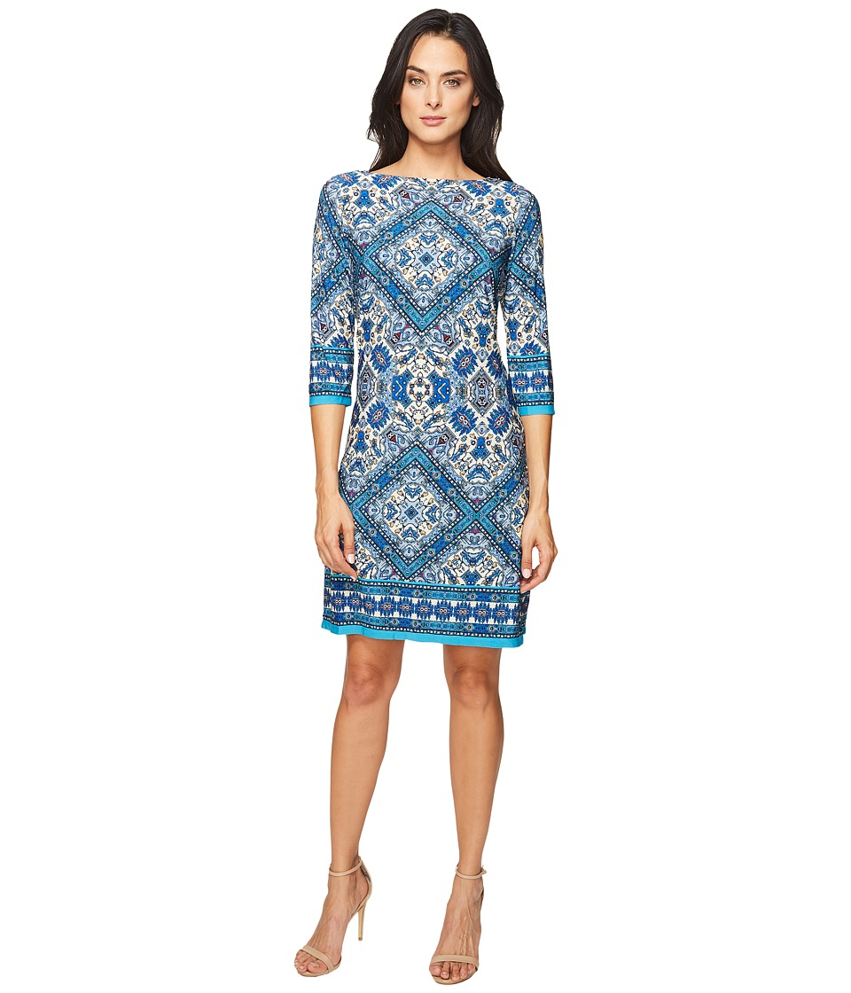 London Times - Burmese Tile Long Sleeve Shift (Blue Multi) Women's Dress