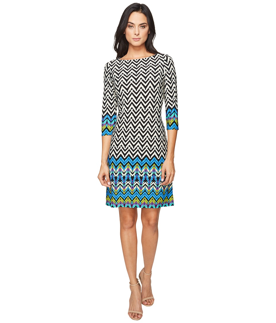 London Times - Chevron Arrowhead Long Sleeve Shift (Blue Multi) Women's Dress