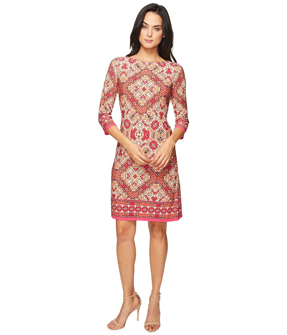 London Times Burmese Tile Long Sleeve Shift (Pink Multi) Women