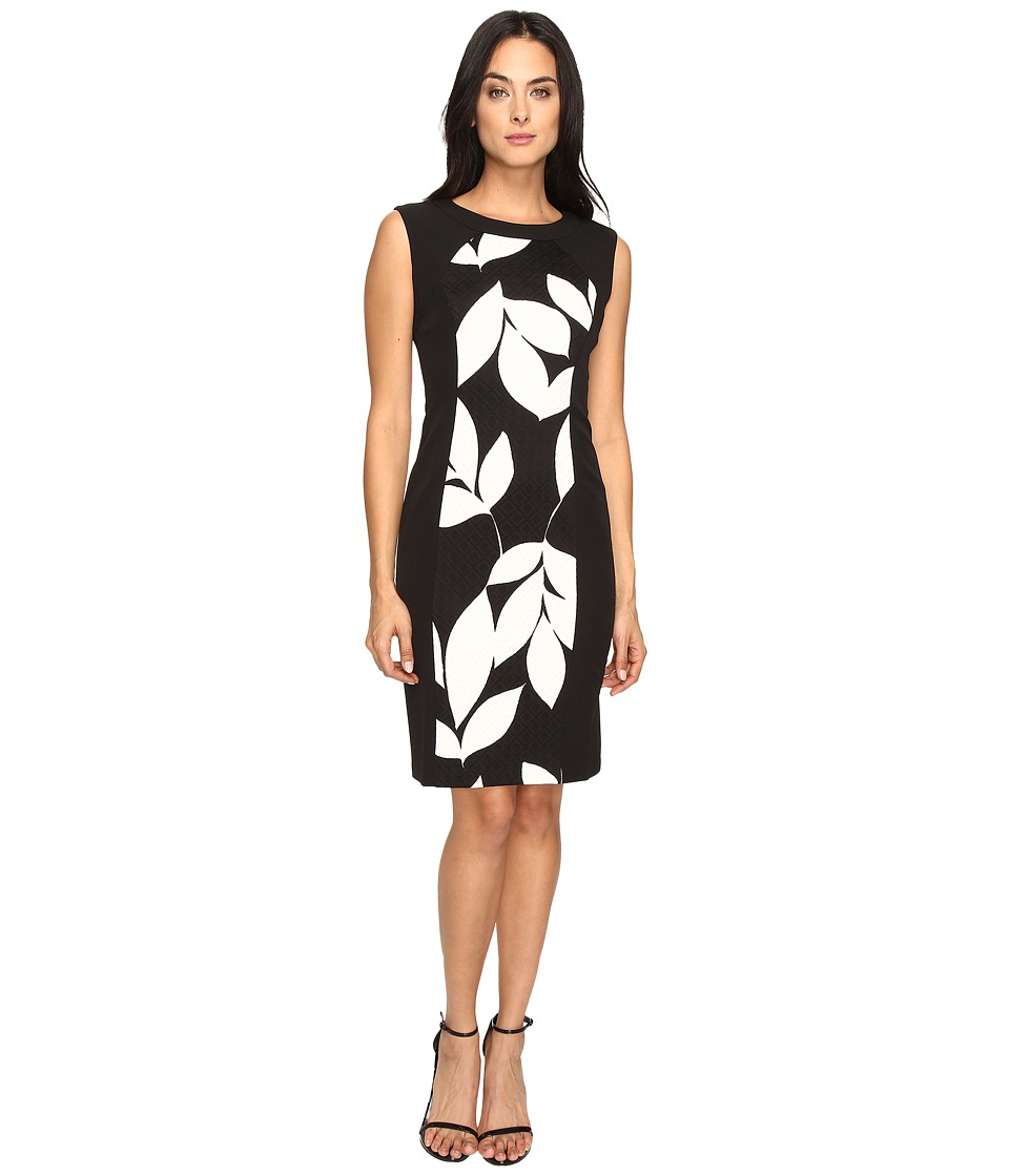 London Times - Box Jacquard Cap Sleeve Sheath (Black/White) Women's Dress