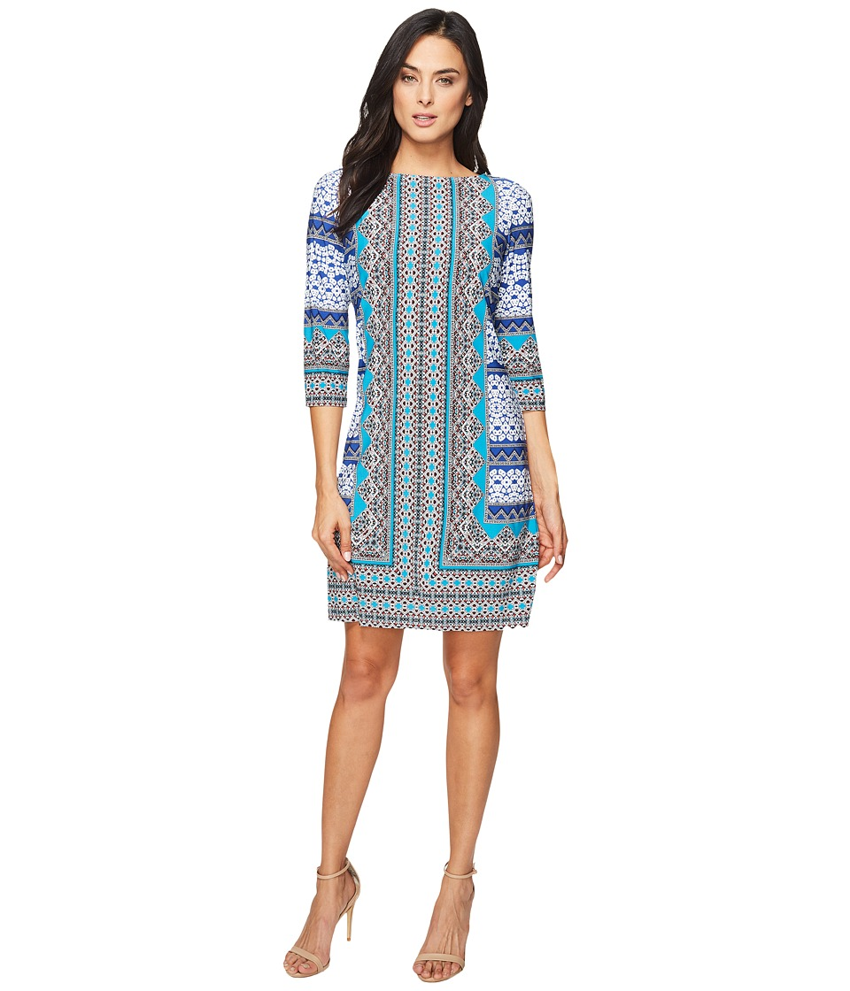 London Times - Long Sleeve Sheath (Blue/Turquoise) Women's Dress