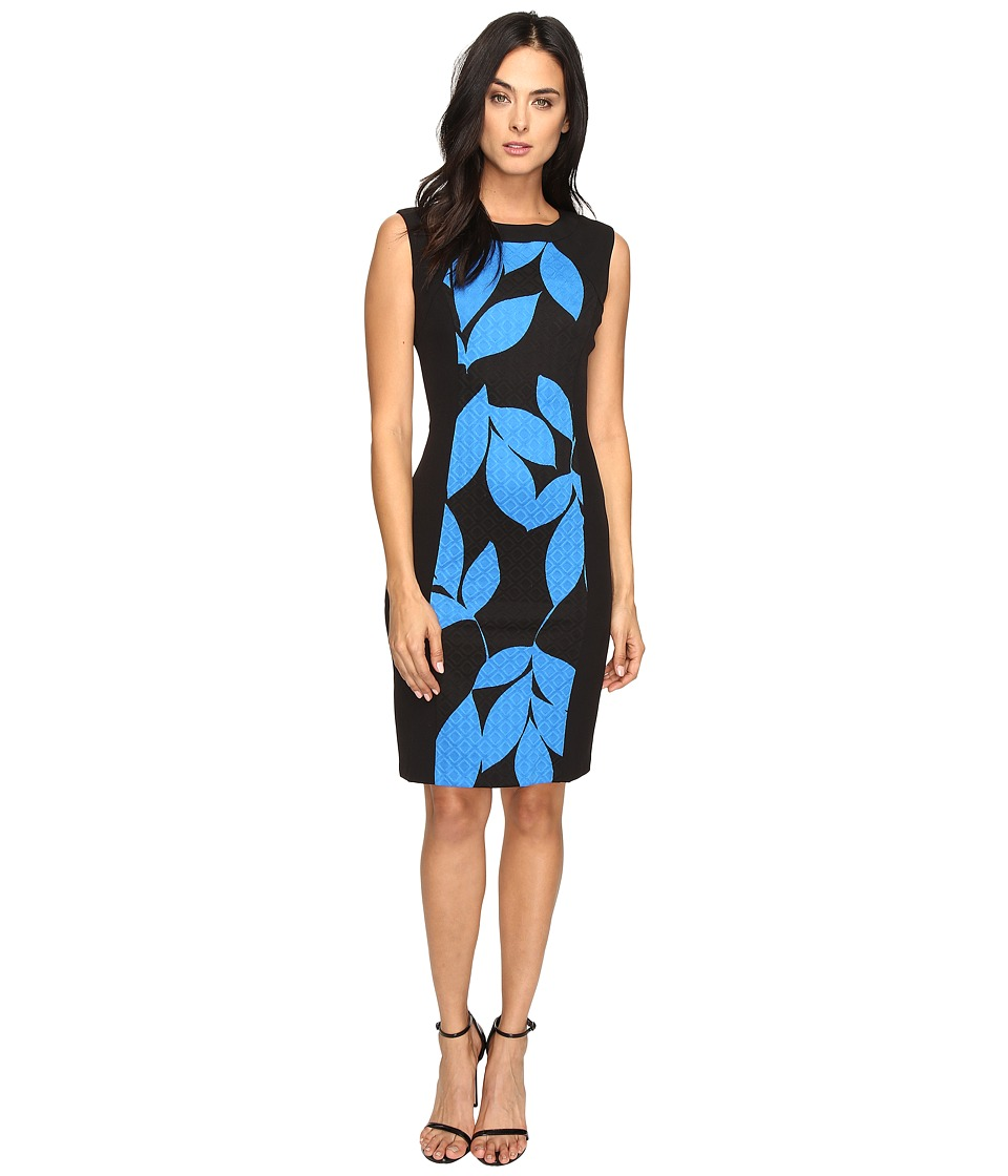 London Times - Box Jacquard Cap Sleeve Sheath (Black/Blue) Women's Dress