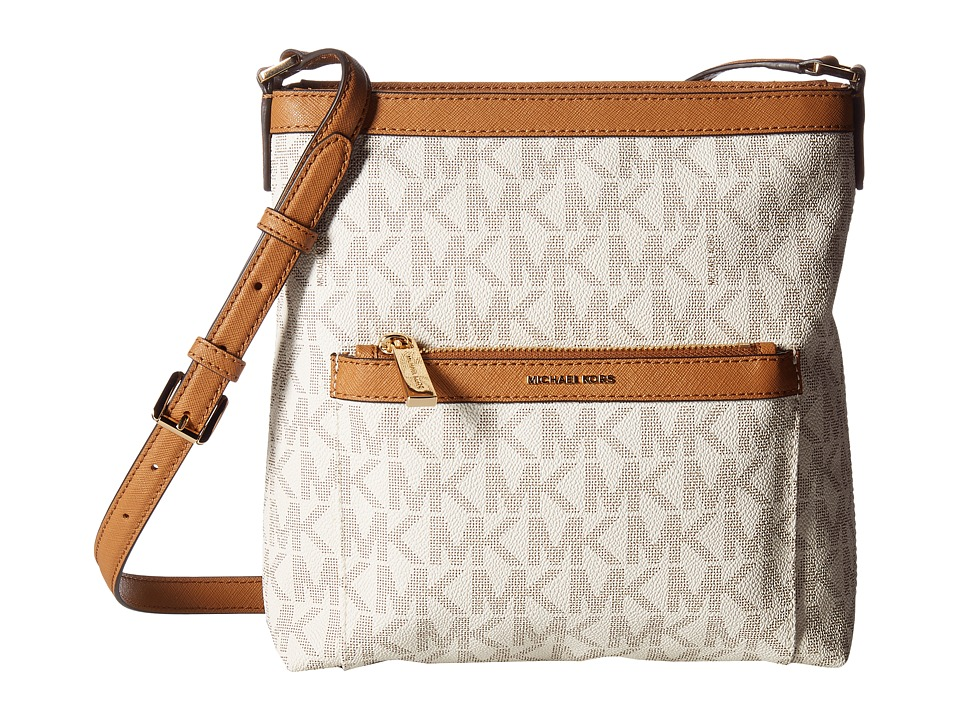 MICHAEL Michael Kors - Morgan Medium Messenger PVC Logo (Vanilla) Messenger Bags
