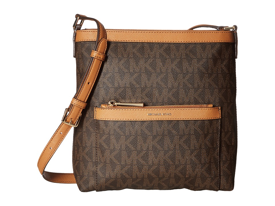 MICHAEL Michael Kors - Morgan Medium Messenger PVC Logo (Brown) Messenger Bags