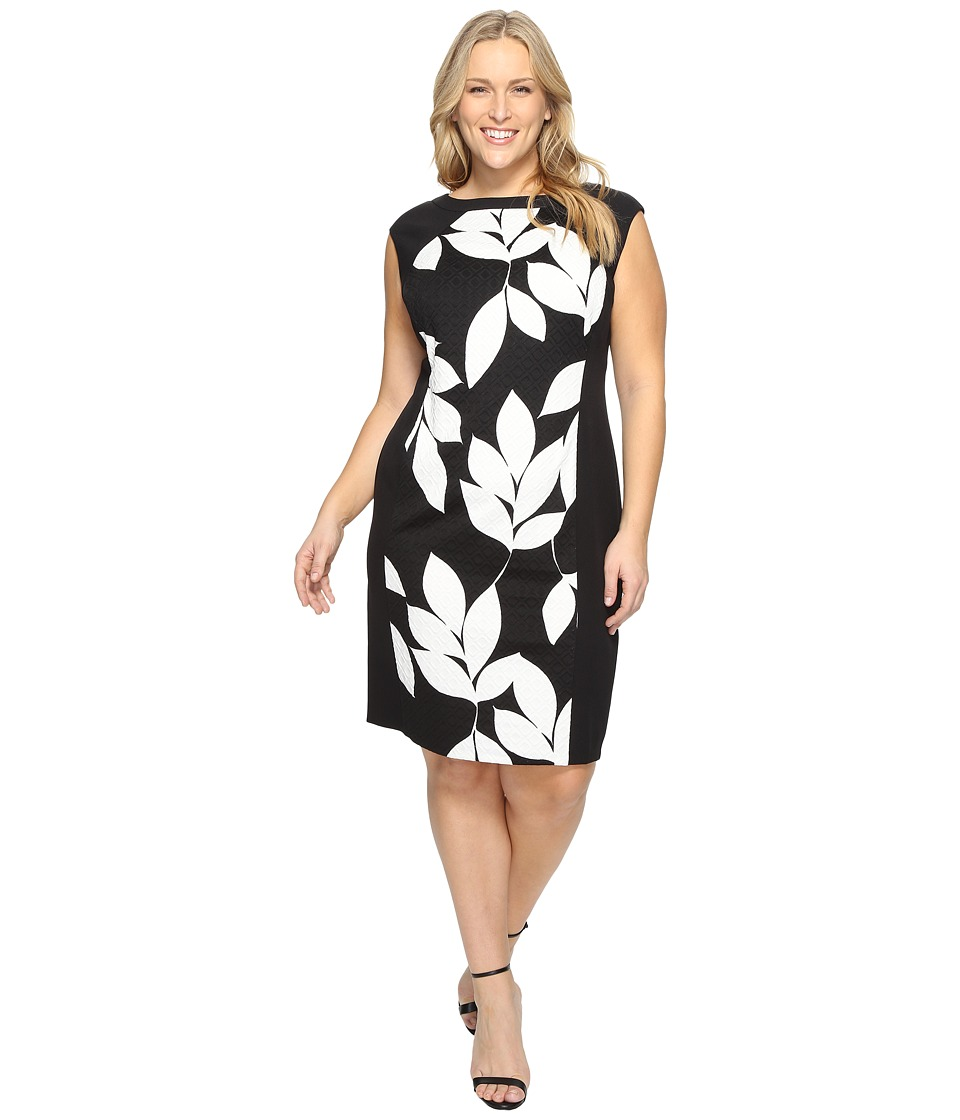 London Times - Plus Size Box Jacquard Cap Sleeve Sheath (Black/White) Women's Dress