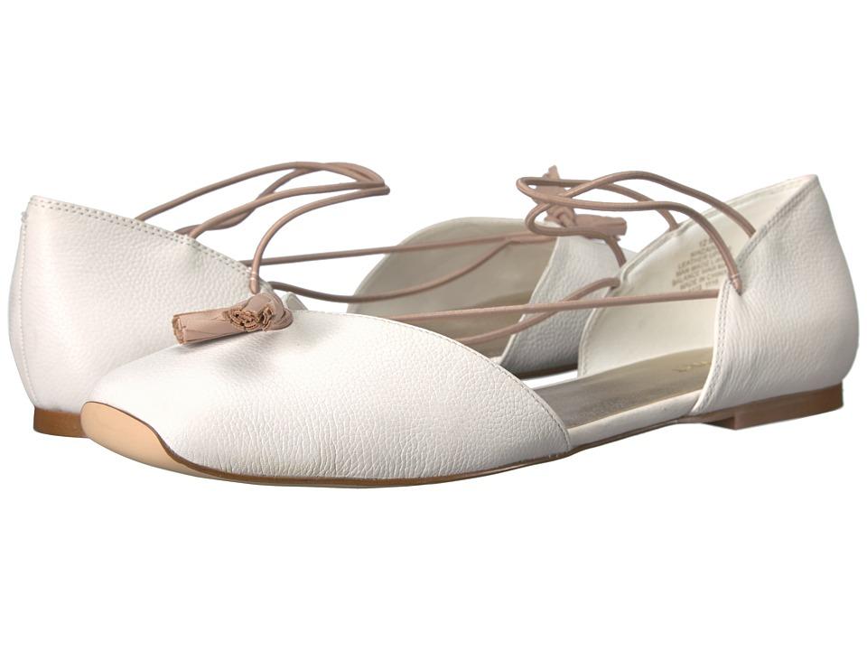 Nine West Zaina White Leather Womens Flat Shoes
