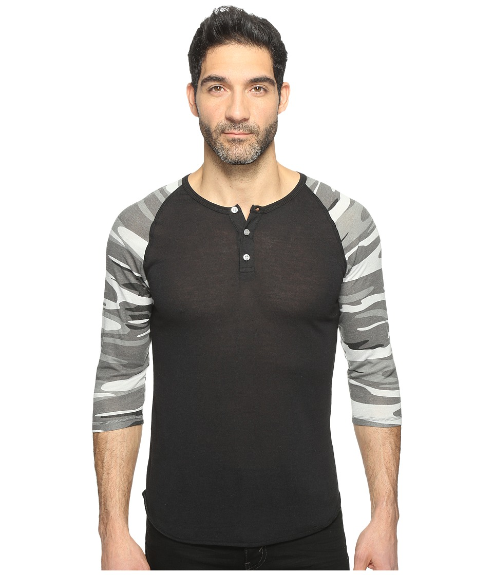 Alternative - Printed 3/4 Raglan Henley (Eco True Black/Grey Camo) Men's T Shirt
