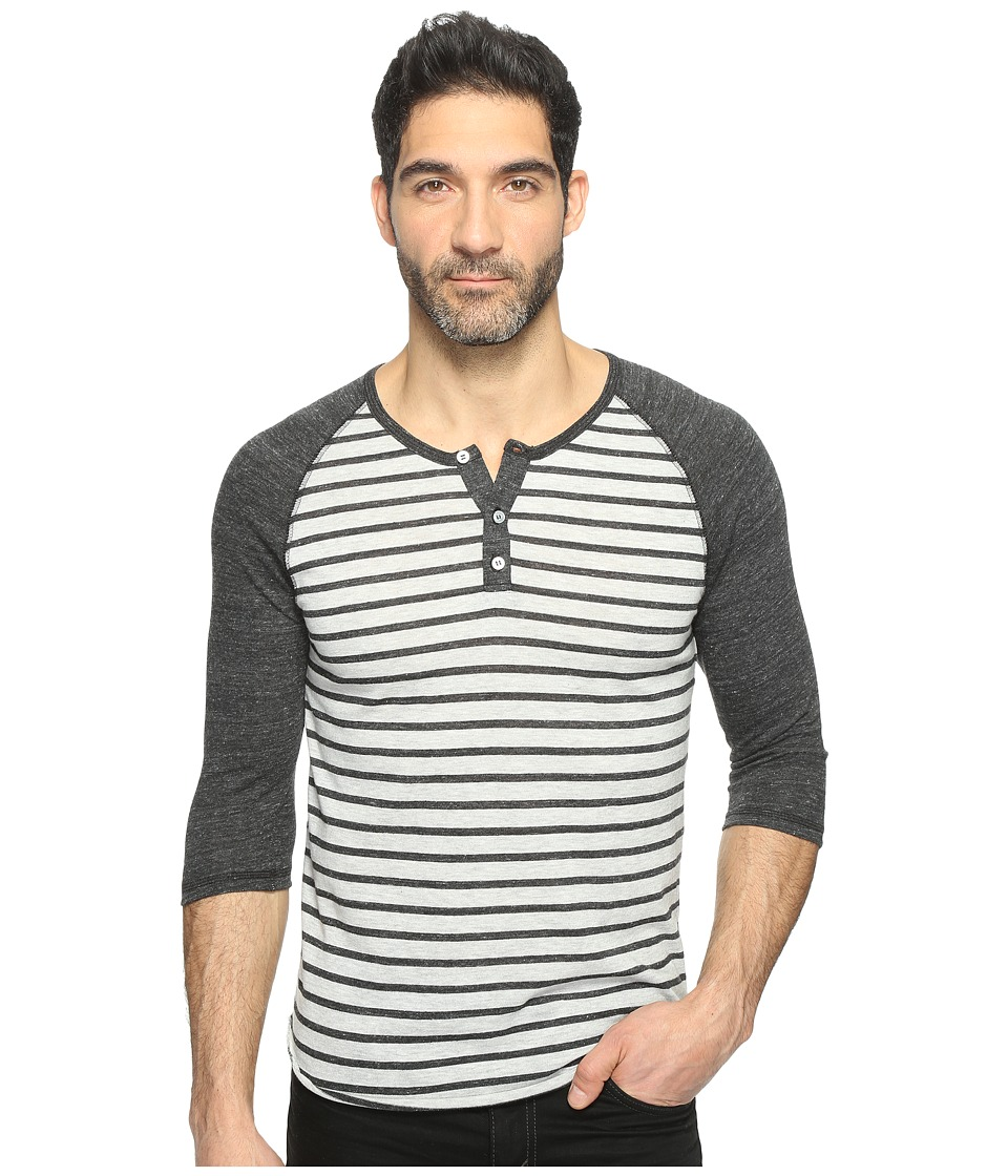 Alternative - 3/4 Raglan Henley (Eco Oatmeal Riviera Stripe/Eco Black) Men's Clothing