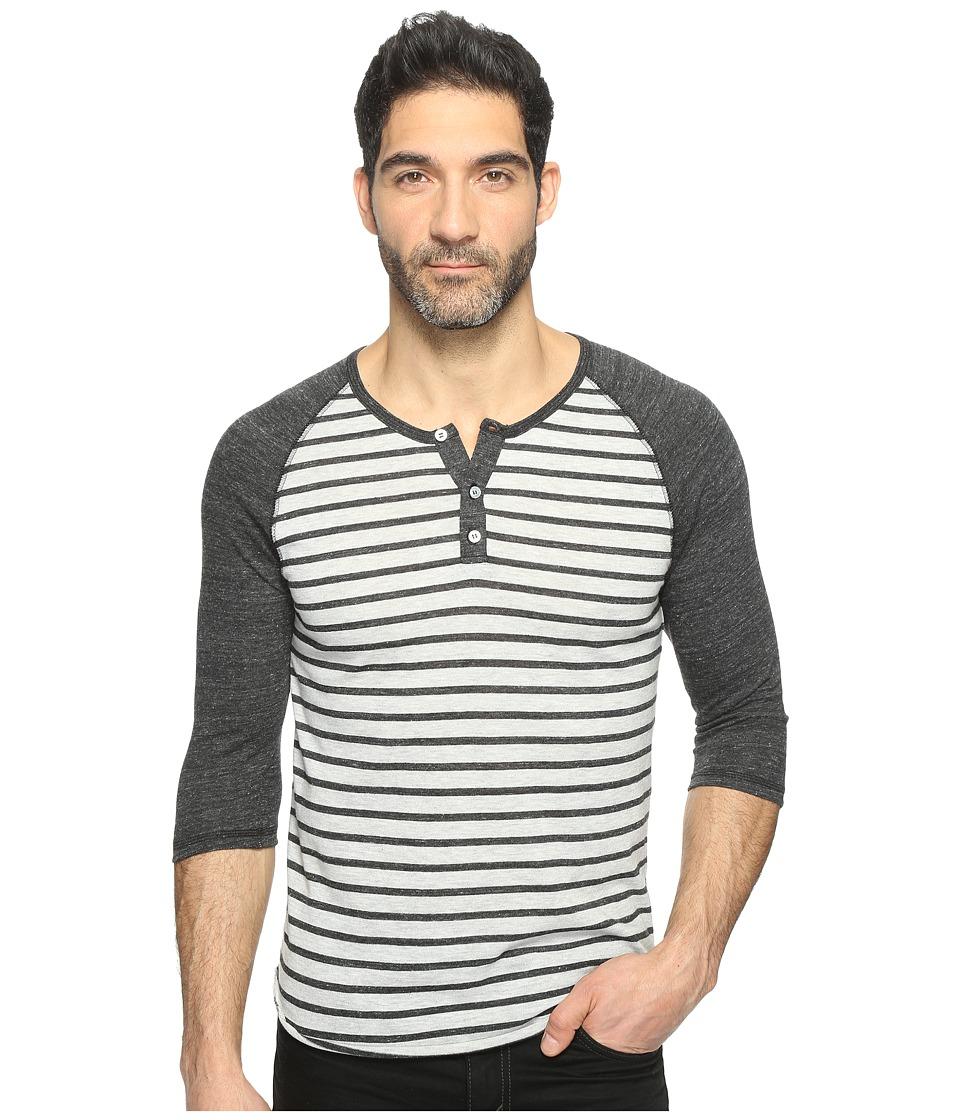 Image of Alternative - 3/4 Raglan Henley (Eco Oatmeal Riviera Stripe/Eco Black) Men's Clothing