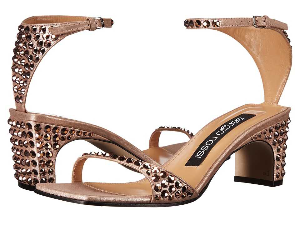Sergio Rossi - A78010-MFN165 (Rose Gold Suede/Jewels) High Heels