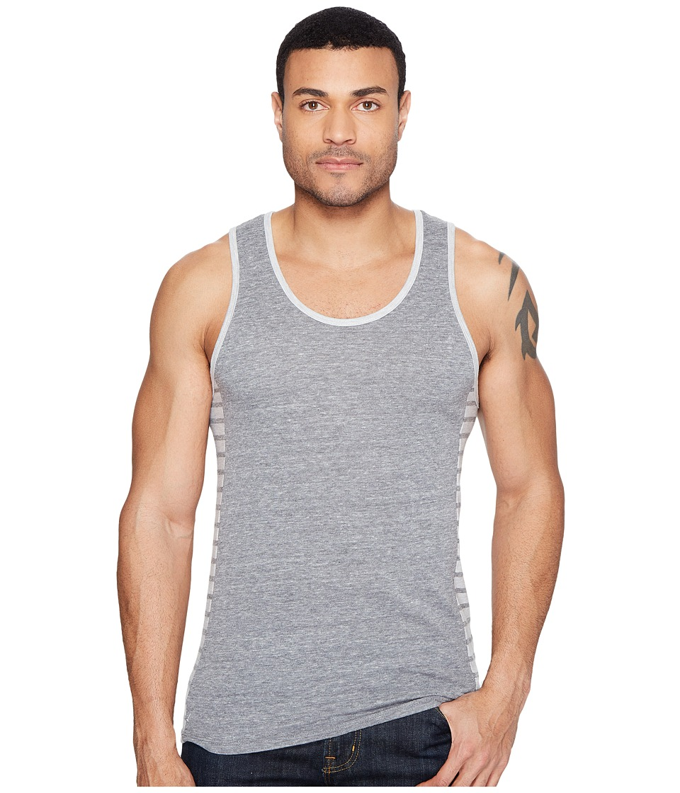 Alternative - Eco Jersey Marine Side Panel Tank Top (Eco Grey/Eco Grey Riviera Stripe) Men's Sleeveless