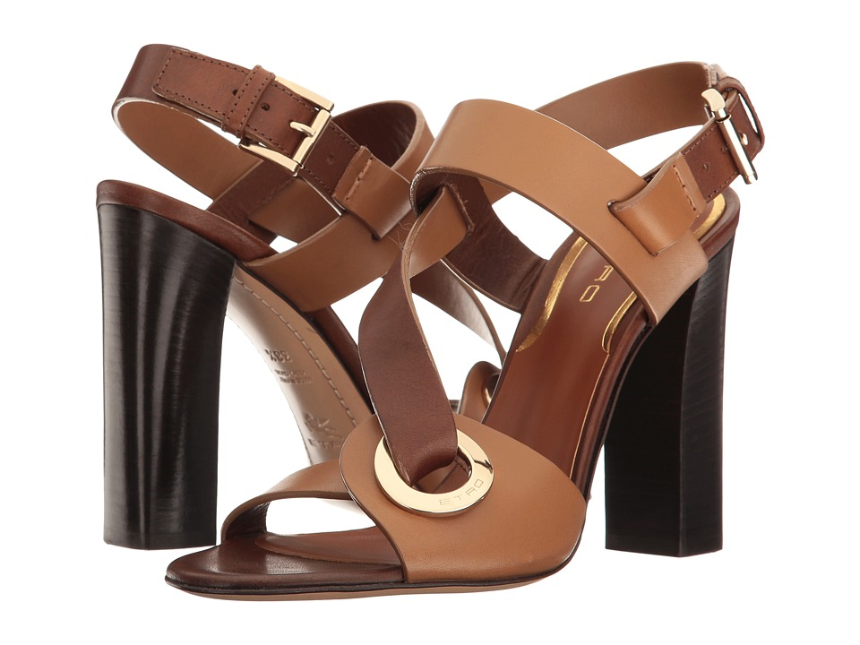 Etro - O-Ring Heeled Sandal (Brown) Women's Sandals