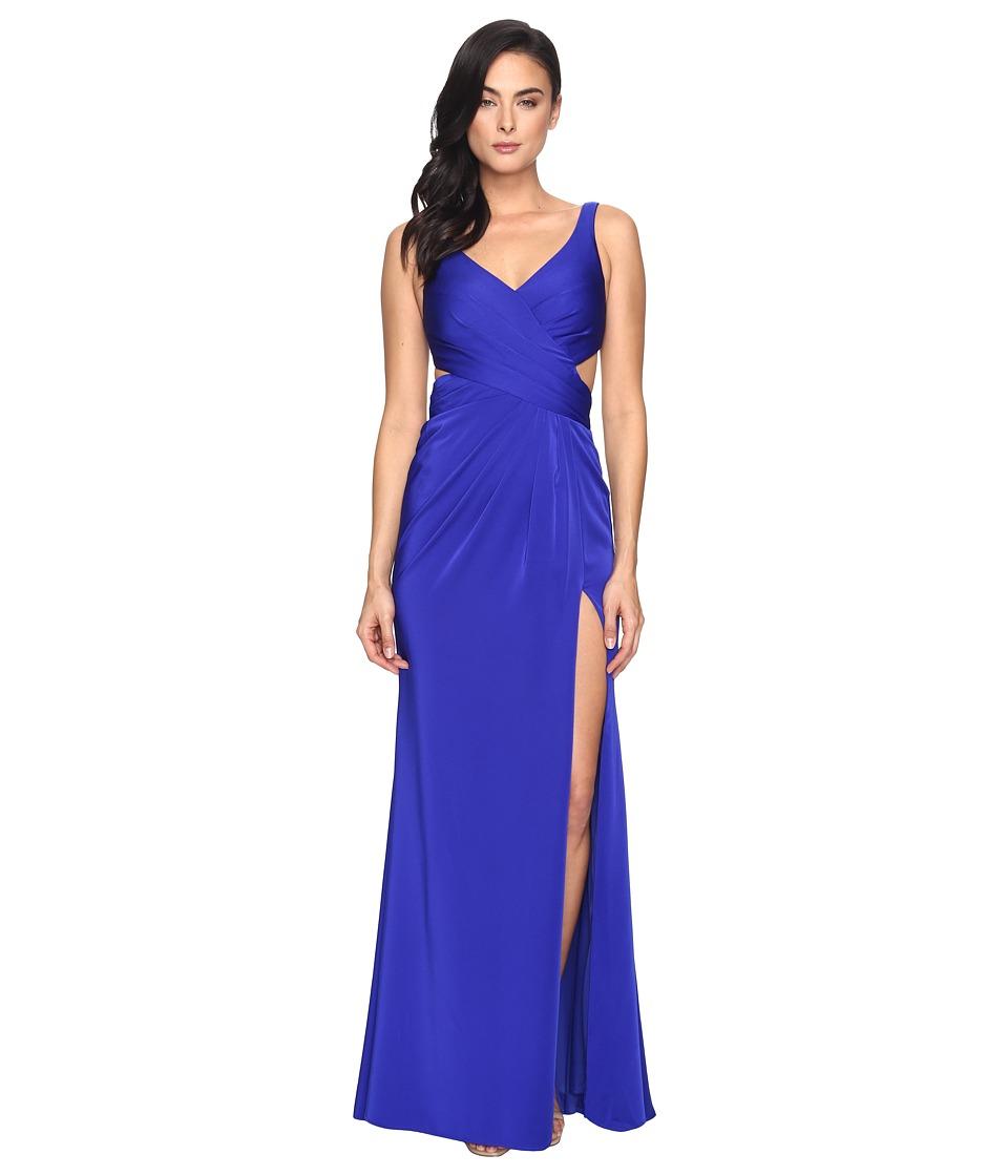 Faviana - Faille Satin V-Neck w/ Back Cut Out 7954 (Royal) Women's Dress