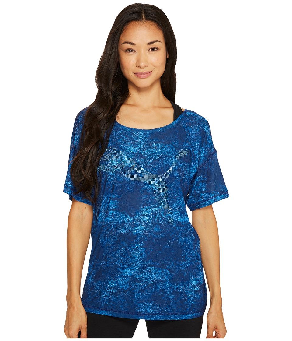 PUMA - Dancer Drapey Tee (Blue Depths/Lapis Blue/Blue Depths Nature Print) Women's Sleeveless