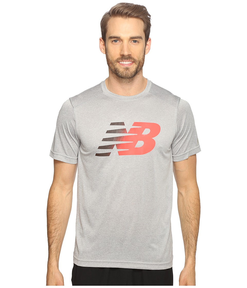 New Balance - Short Sleeve Heather Graphic Tee (Athletic Grey/Black Heather) Men's T Shirt