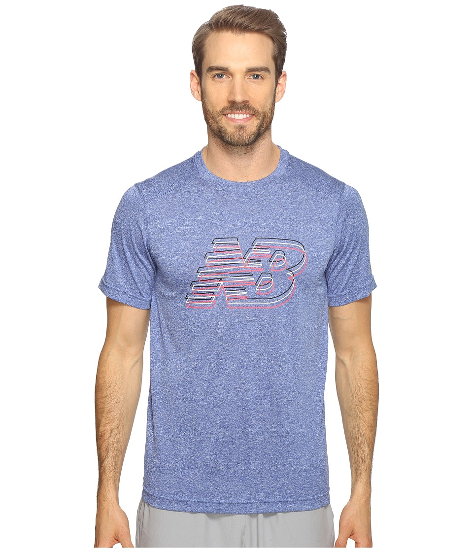 New Balance - Short Sleeve Heather Graphic Tee (Marine Blue Heather) Men's T Shirt