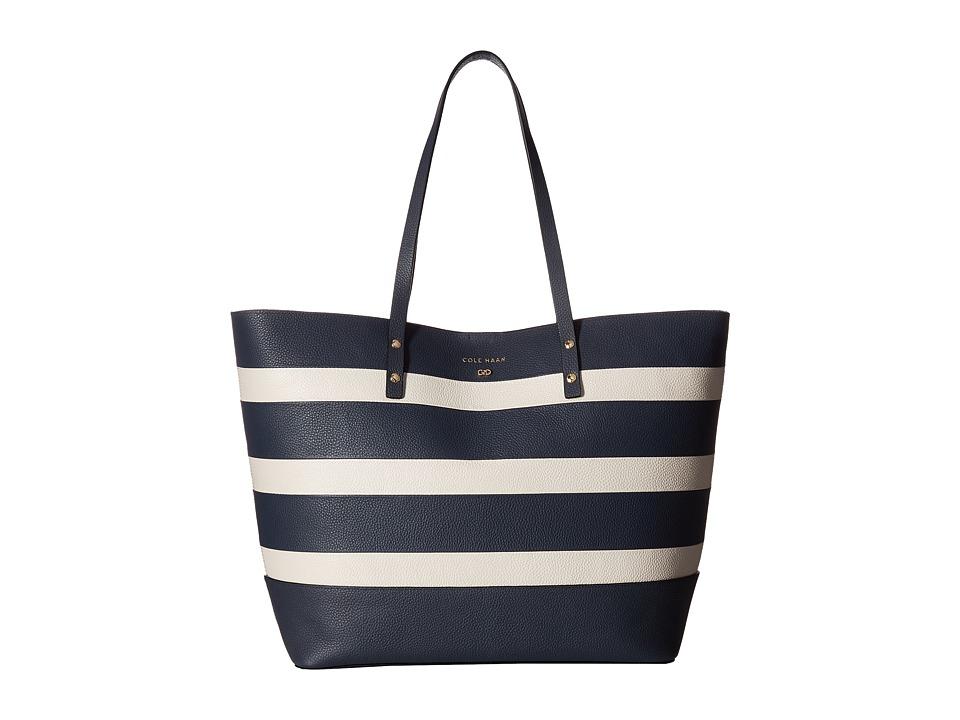 Cole Haan - Beckett Tote (Blazer Blue/Ivory Stripe) Tote Handbags