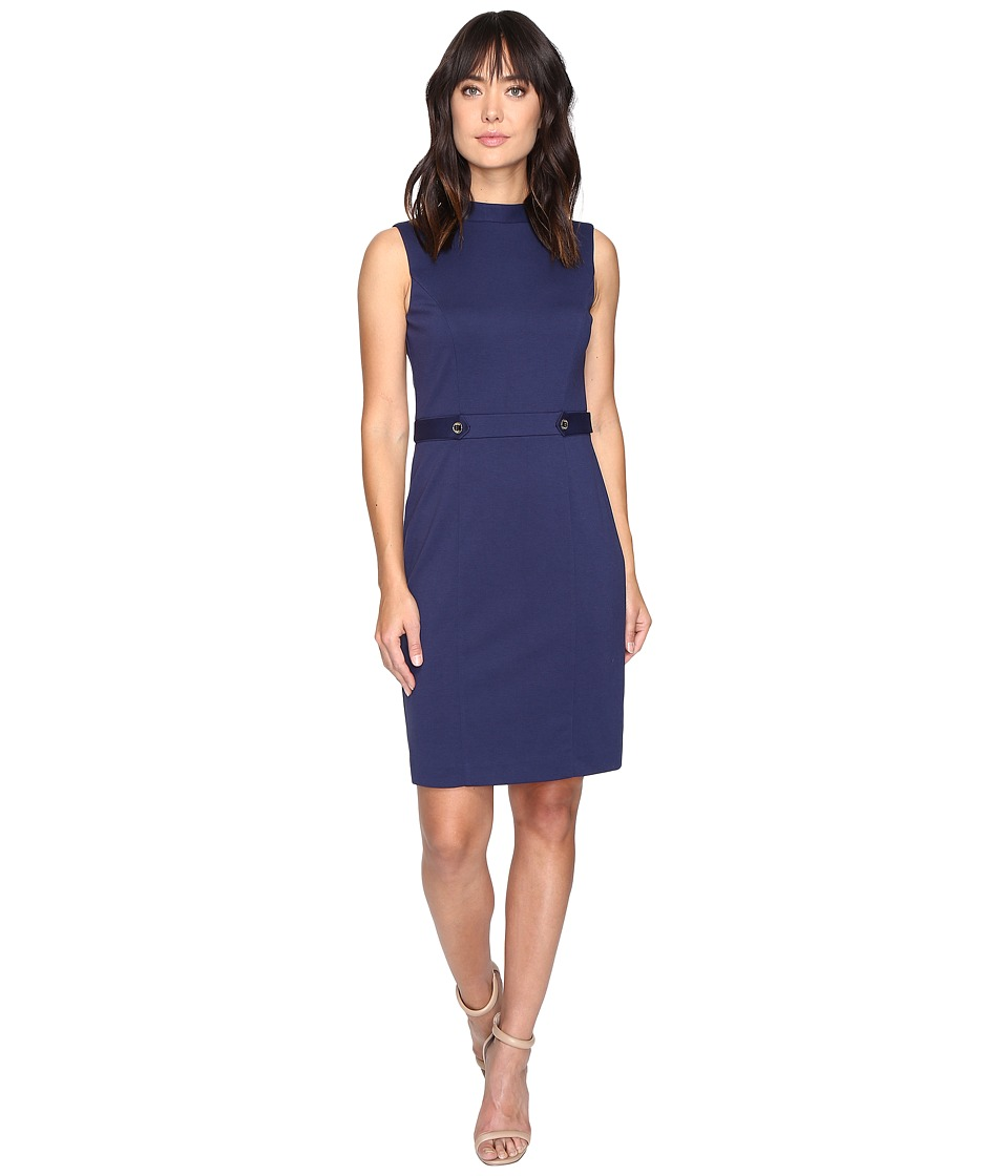 Ellen Tracy - Ponte Mock Neck Dress with Hardware (Ink) Women's Dress