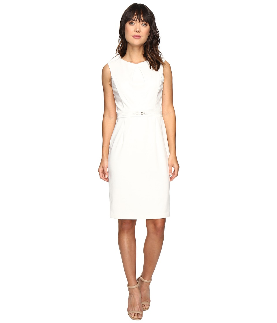 Ellen Tracy - Ponte Dress with Hardware (Ivory) Women's Dress