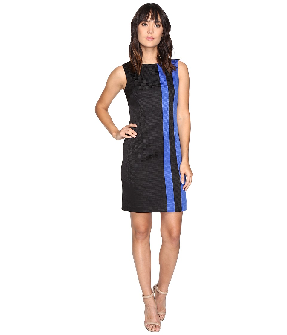 Ellen Tracy Pique Stripe Dress (Black/Cobalt) Women