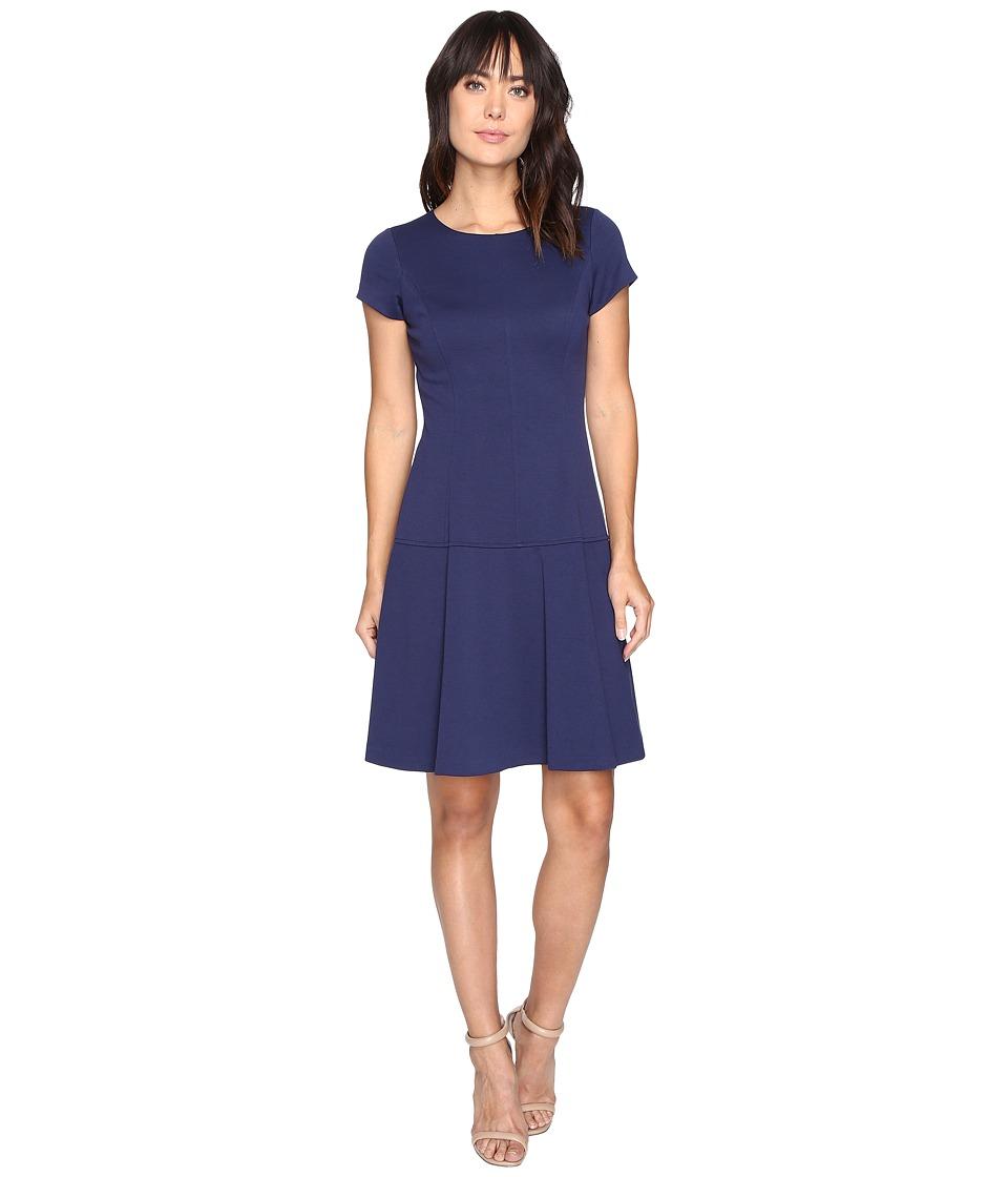 Ellen Tracy Ponte Drop Waist Dress (Ink) Women