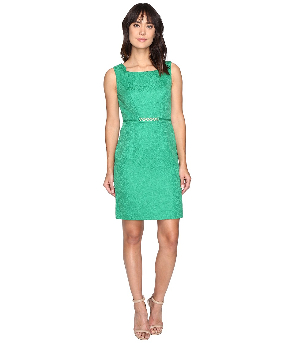 Ellen Tracy - Jacquard Dress with Hardware (Kelly Green) Women's Dress